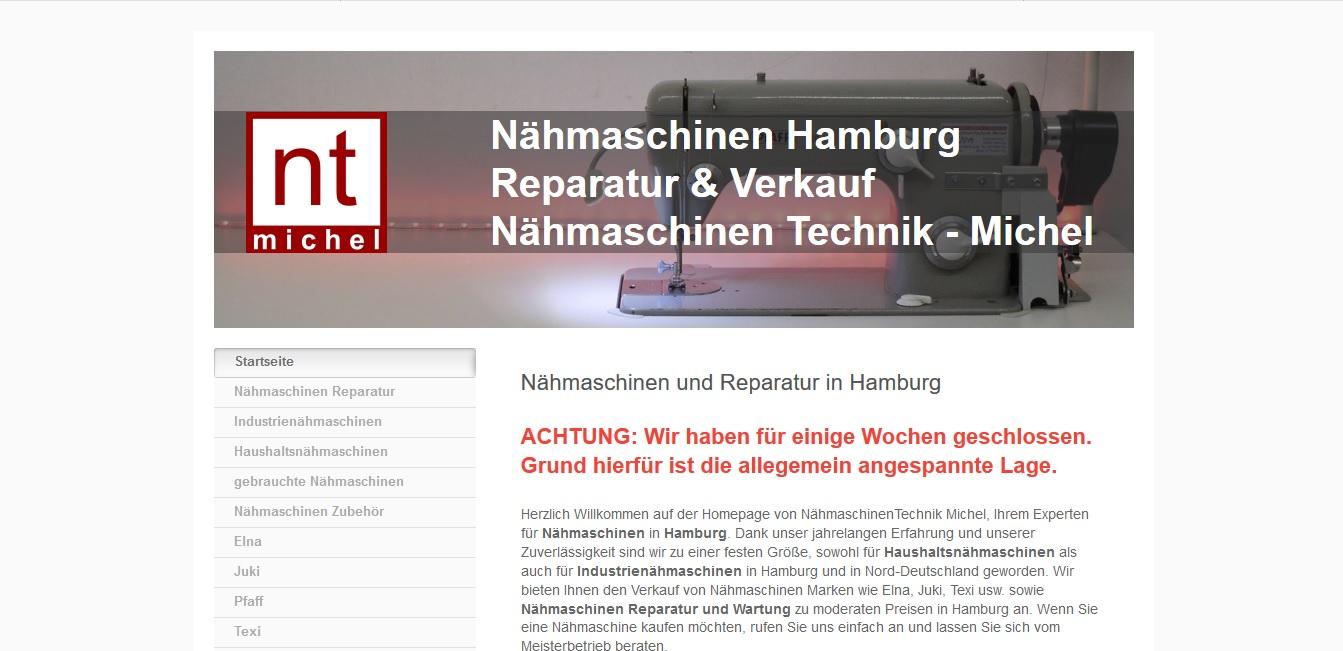 Homepage www.naehmaschinen-hamburg.de by WebMichel